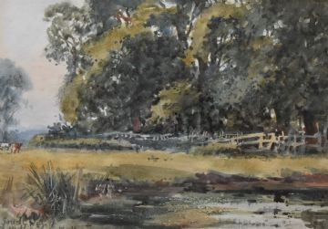 John Gutteridge Sykes Original Watercolour Painting Of A Rural Landscape